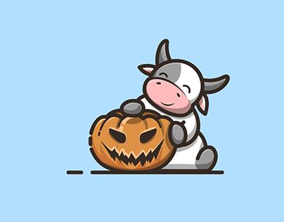 cow with pumpkin halloween