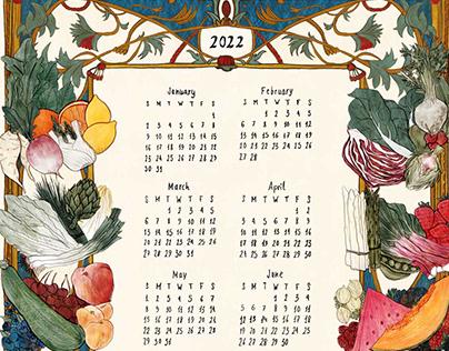 2022 Calendar of vegetables