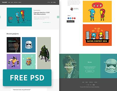 Talent - Free illustrator portfolio PSD template