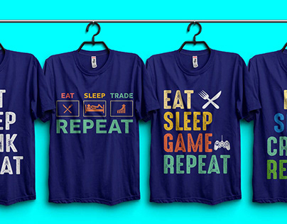 Eat Sleep Repeat T-Shirt Design Bundle