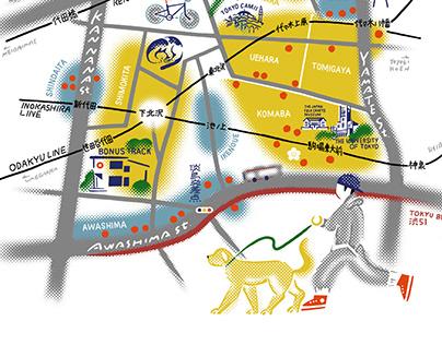 POPEYE 2021年5月号 「普段使いの東京案内。」に描き下ろした地図