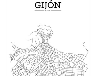 Gijón street map poster