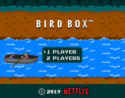 Bird box 8-bit game splash screen concept (2019)