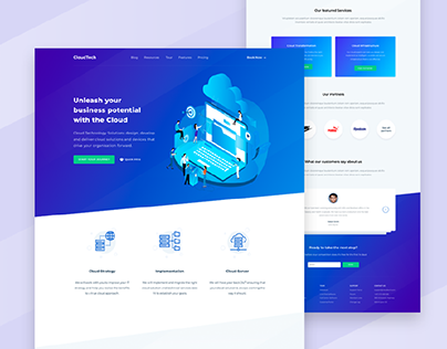 Cloud Tech- UI/UX Design | Landing Web Page