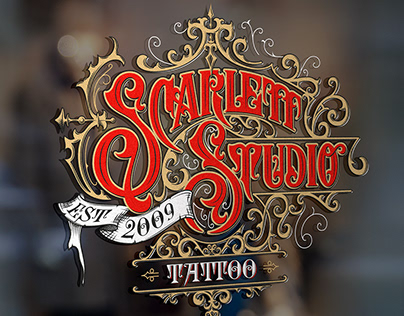 Scarlett Studio Tattoo logo design