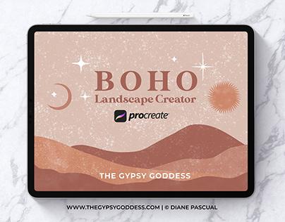 Procreate Boho Landscape Creator Graphics Pack