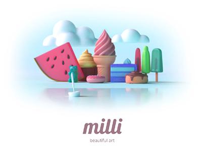 milli - beatuiful art logo design