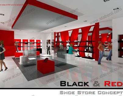 BLACK & RED SHOE STORE CONCEPT LIGHTING DESIGN PROJECT