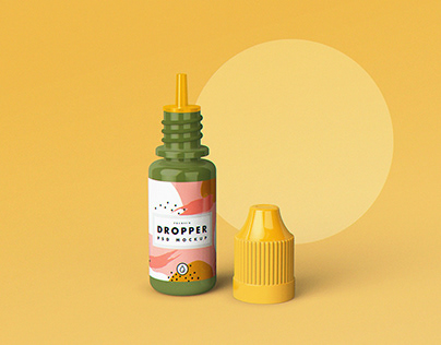 Free E-Juice Dropper Bottle Mockup