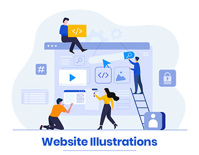 Flat Website Illustrations for DX Solutions