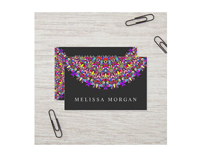 Happy Multicolored Floral Mandala Business Card