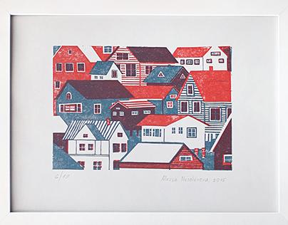 Linocut Houses