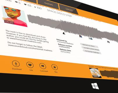 Soundcloud.com Windows 8 Application Concept Design