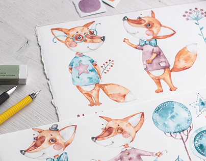 Foxes illustrations & patterns