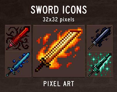48 Sword RPG Icons Pixel Art