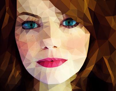 Emma Stone, a low poly portrait