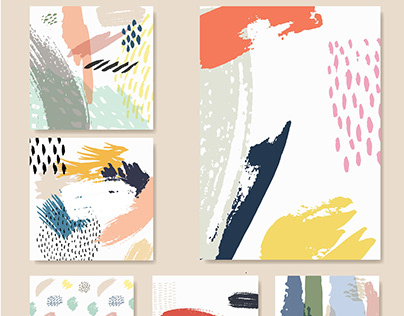 Artistic creative brush stroked cards. Hand Drawn