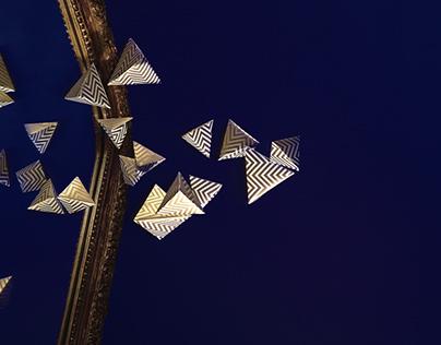 Paper pyramids photo shoot
