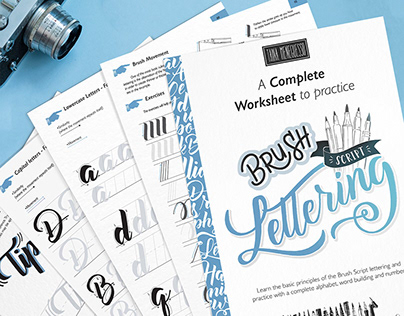 Brush Script Lettering Worksheets - free sample