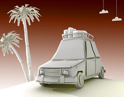 paper car In sahara