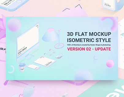 3D Flat Mockup Screen - Isometric Style - Version 02