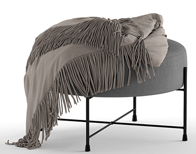 Pouf Jysk Padborg with Fabric and Velvet Materials