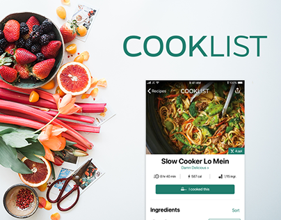 Cooklist iOS - UI/UX Design Concept