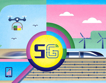Science and technology --5G network Illustration series