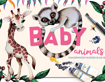 BABY ANIMALS. Watercolor animal characters.