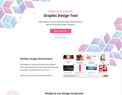 Landing page - graphic design tool