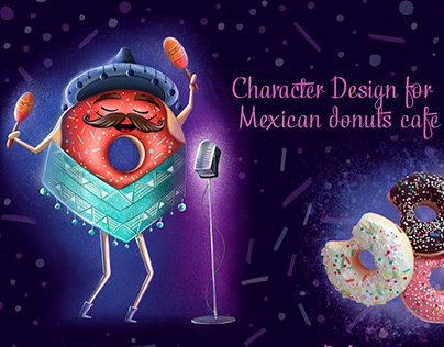CHARACTER DESIGN for Mexican donuts cafe