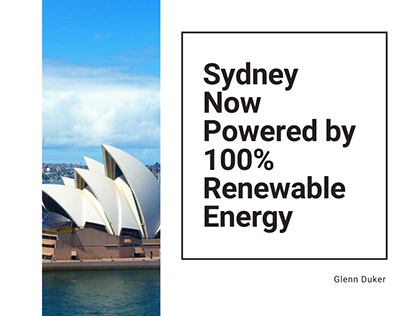 Sydney Now Powered by 100% Renewable Energy