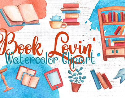 Book Loving Handdrawn Watercolor Clipart