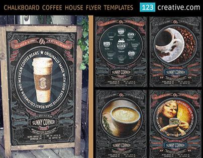 Chalkboard coffee house flyer template PSD