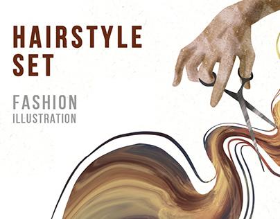 Barber beauty salon, set of fashion illustrations