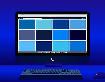 Computer Desk Flat Illustration Design