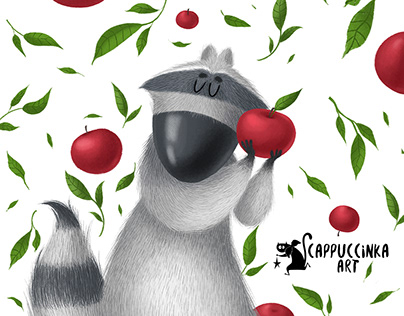 Raccoons and apples