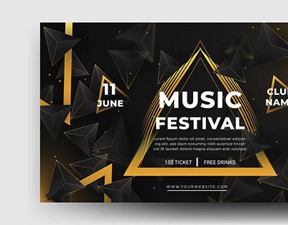 Music Festival Landscape Banner In Adobe Illustrator