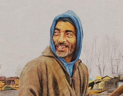 The Fruit Seller (Male) OIL COLOR - Artist Kamal Nishad
