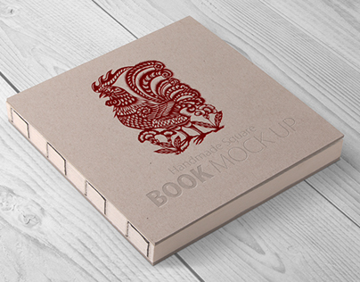 Handmade Square book Mock-up