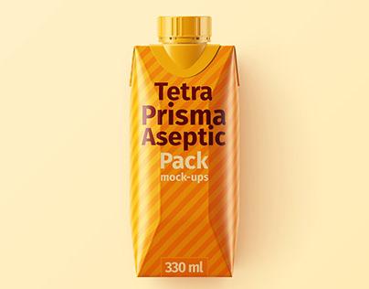 Tetra Pak. Prisma Pack (330 ml) Mockup Set