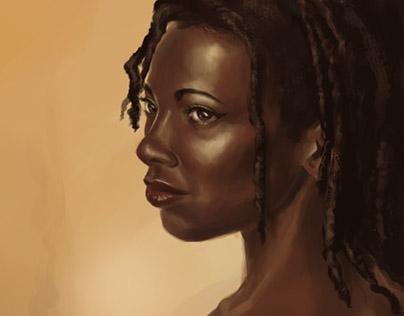 Digital Painting of Brown Skinned Girl
