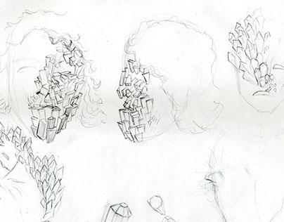 foam latex prosthetic process & concept sketches