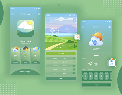 Sunny mobile app UI/UX design