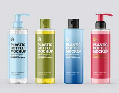 200 ml Cosmetic Bottles with Pump Mockups PSD