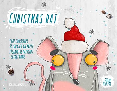 Christmas rat character set