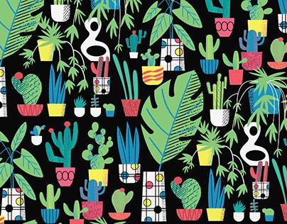 Cacti Black Repeat Print