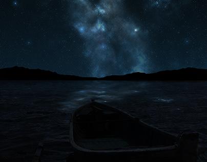 blue night with pleiades