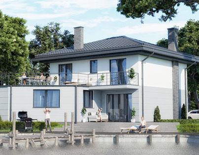 Nowoczesny dom piętrowy nad jeziorem