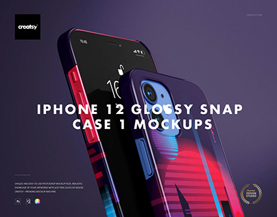 iPhone 12 Glossy Snap Case 1 Mockup Set